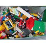 A Quantity of Loose Lego, various plates, blocks, wheels, etc, playworn:- One Box