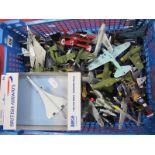 A Quantity of Metal Military Aircraft, to include US VA-25, Messerschmitt ME-262, Biplane, A-10
