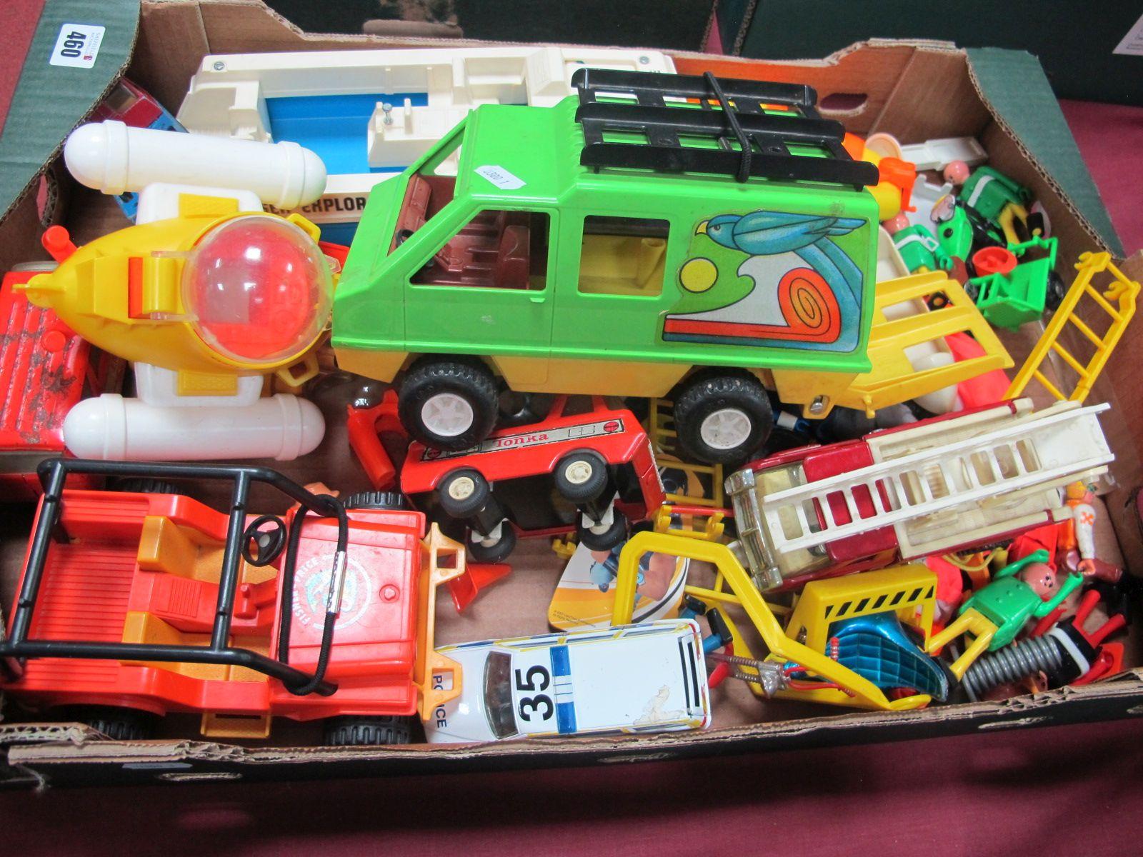 A Box Quantity of Toys, to include Tonka Breakdown Truck, Emergency Van, Corgi Turbine Truck,