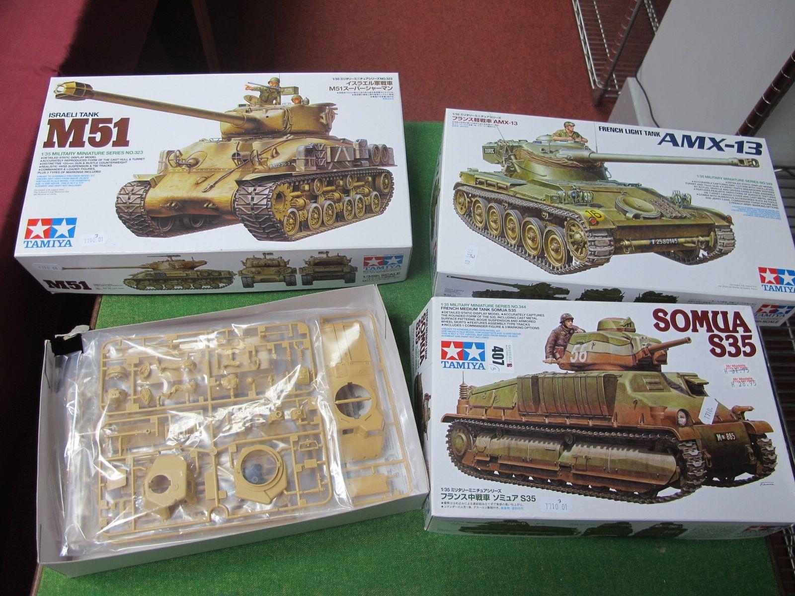 Three 1/35th Scale Tamiya Plastic Tank Kits, to include Israeli Tank MSI, Somua S35 and French light