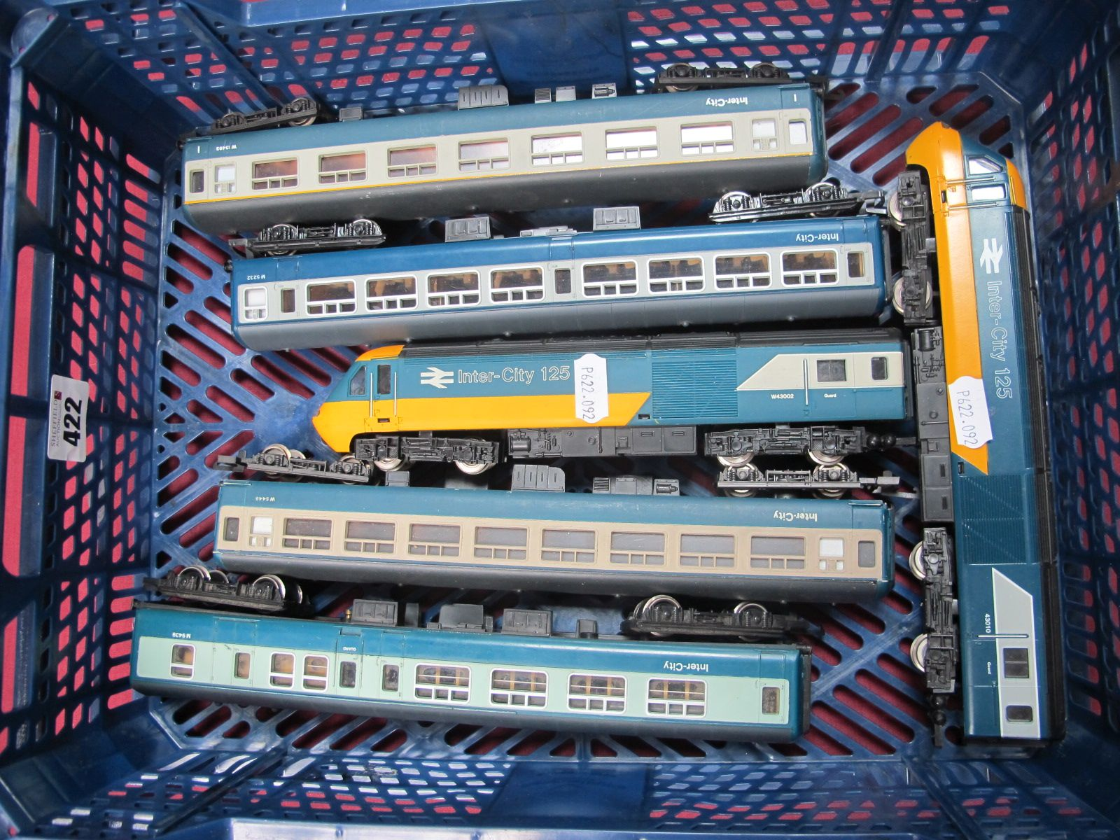 A Hornby 'OO' Gauge/4mm Class 43 Intercity Power Car and Dummy, plus four Intercity Coaches,