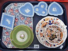 A XIX Century Pottery Imari Style Trio, a George Jones Crescent China floral cup and saucer (crack),