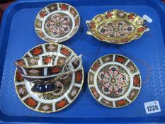 Royal Crown Derby 1128 Imari Pattern Cabinet Cup and Saucer, two circular dishes and shaped dish,