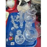 Swarovski Crystal; Dog, Owl, Butterfly, Mouse, etc; plus other glassware:- One Tray
