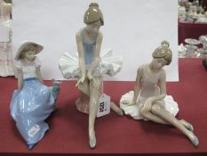Two Nao Figures of Ballerinas; plus one other Nao figure. (3)
