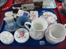 Crown Derby, Wedgwood Jasper, Coalport and other ceramics:- One Tray.