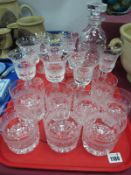 Drinking glasses in The Waterford Manner, seventeen, together with matching decanter:- One Tray.