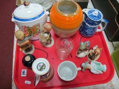 Shelly Ovid Vase, in orange and tan. George Jones hot water jug, Hummel figures, etc:- One Tray.