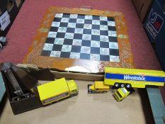 Plastic Chess Set in Oriental Fold Board, Maelzel Metronome, Corgi Wheetabix vehicles.