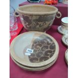 Crich Pottery - A large bowl with twin handles with stylized naturalistic decoration, 19cm high,