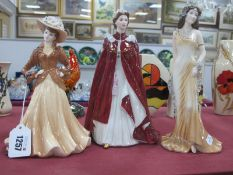 Coalport 'Joan' and 'topaz' and Royal Worcester 'The Queen's 80th Birthday 2006' figurine. (3)