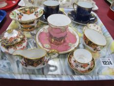 Shelley Cabinet Cup in a Silver Holder, plus saucer, Crown Derby, Wedgwood, Rosenthal miniatures.