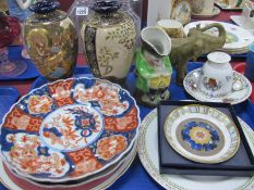 A Pair of Early Xx Century Japanese Vases, Imari plates, Worcester Millennium dish, Dux style