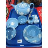 Wedgwood Jasperware Solitaire Tea Set, plus other pieces:- One Tray.