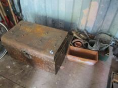 Tin Trunk, galvanized watering can and pail, terracotta planters, etc.