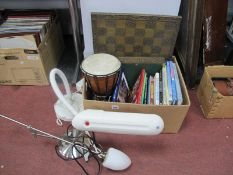 Sheffield Theamed Books, madri style drum, chess sets, two table lamps.