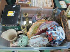 German Porcelain Bon Bon Dish, blush ivory ware, Ridgways imari style bowl, brass candlesticks,