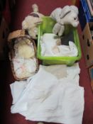 Damask and Embroidered Table and Bed Linen, vintage 'Poodle' pyjama case, porcelain doll in