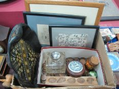 XIX Century Inkwell, with a silver top collar (damaged) one box of old penny coins, XIX centre black