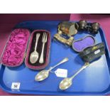 A Hallmarked Silver Christening Fork and Spoon, in original fitted case; Together with Two