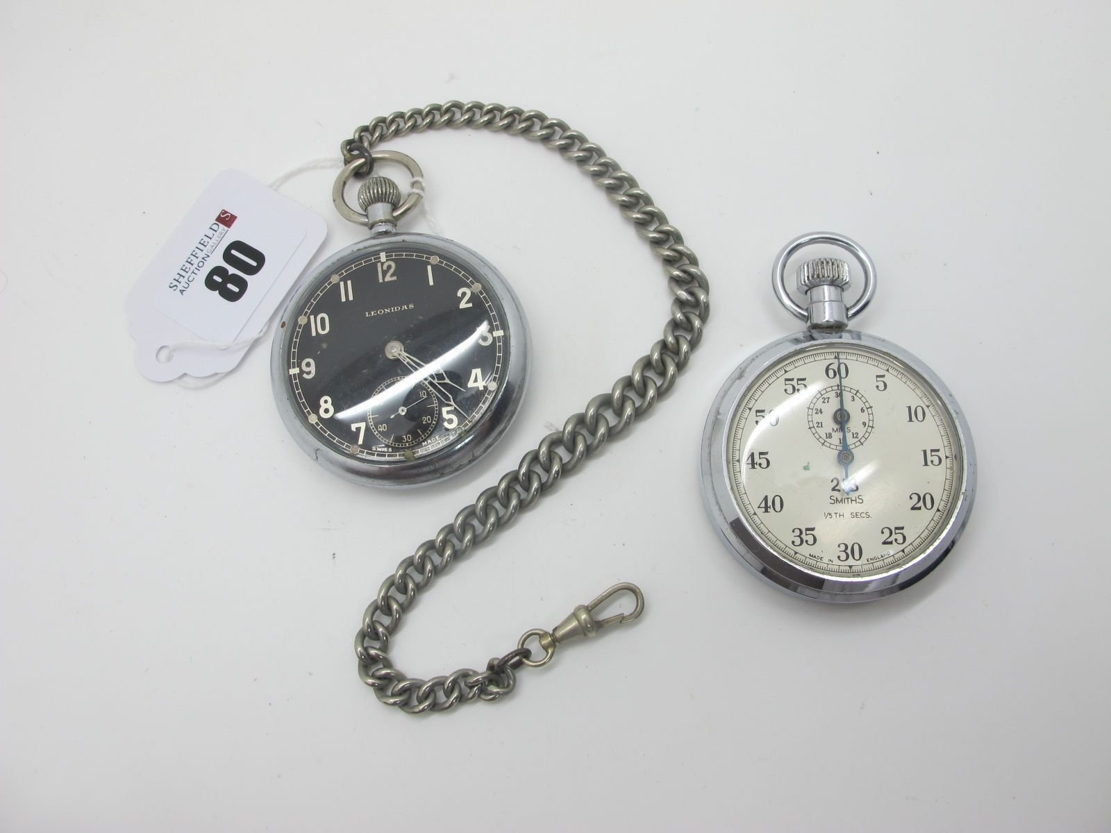 Leonidas; A Military Openface Pocketwatch, the signed black dial with Arabic numerals and seconds