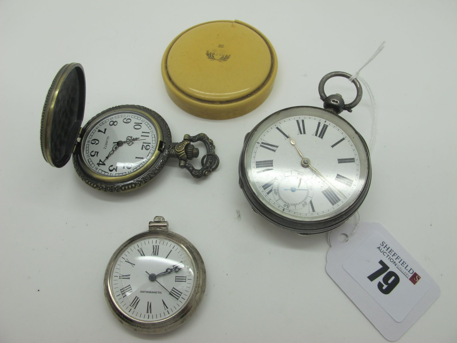 A Hallmarked Silver Cased Openface Pocketwatch, the white dial with black Roman numerals and seconds