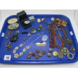 Antique and Later Costume Jewellery, including amber bead necklaces, cameo and other brooches,