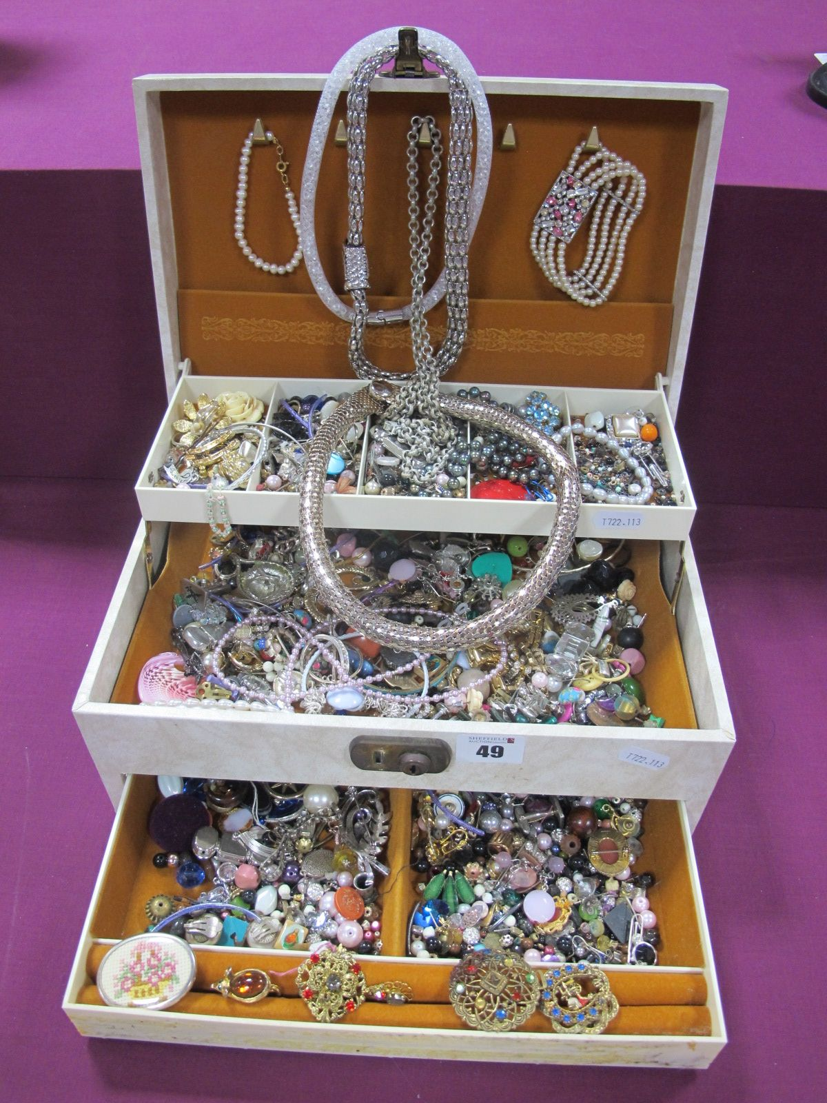 A Jewellery Box Containing Assorted Costume Jewellery, including brooches, necklaces, fresh water