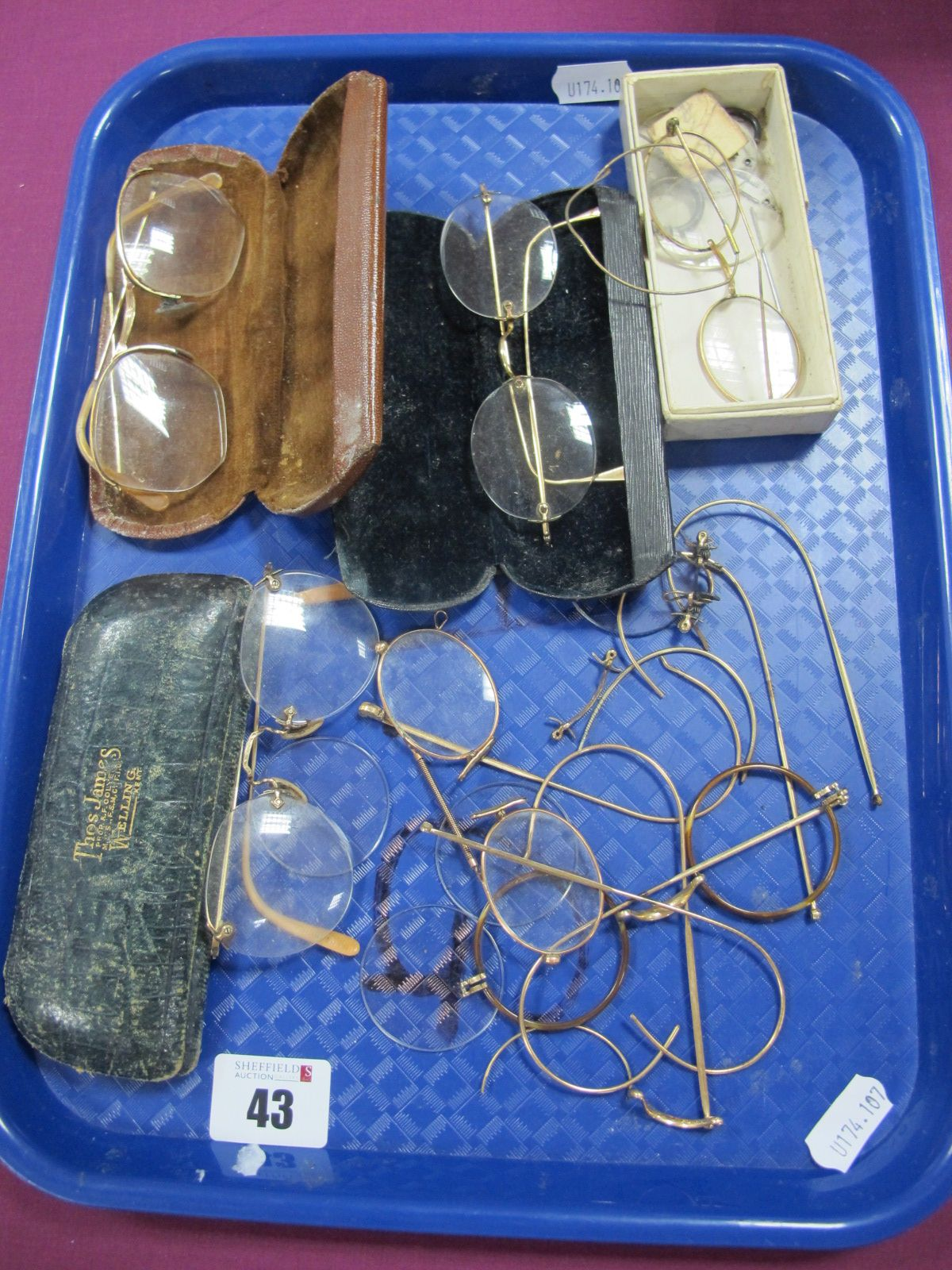 """A Collection of Assorted Antique and Vintage Spectacles and Pince-Nez, one case tooled in gilt """"Thos"""