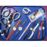 A Collection of Assorted Modern Ladies Wristwatches, including examples with rubber straps,
