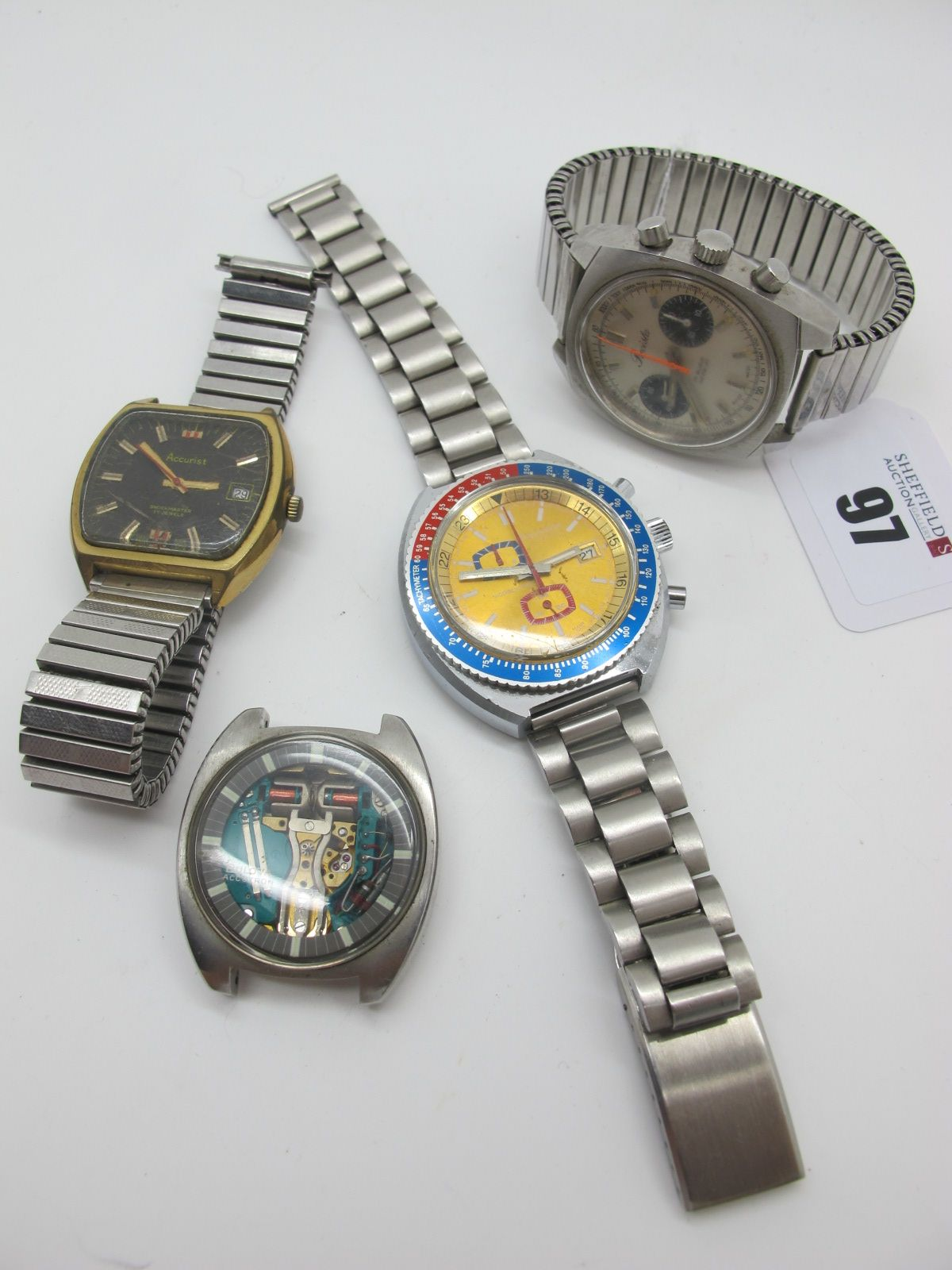 Bulova Accutron; A Retro 'Spaceview' Gent's Wristwatch Head, (no strap / lacking hands); Together