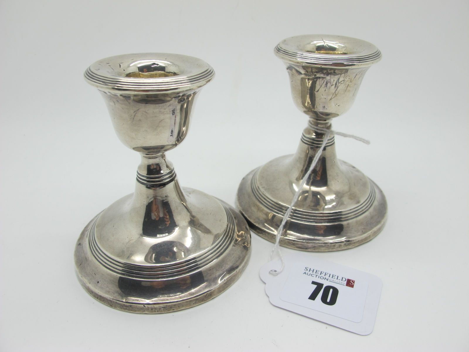 A Pair of Hallmarked Silver Dwarf Candlesticks, Birmingham 1913, with reeded band detail, bases (