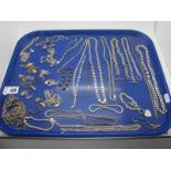 925 and Other Chains, bracelets, pendants on chains, etc :- One Tray