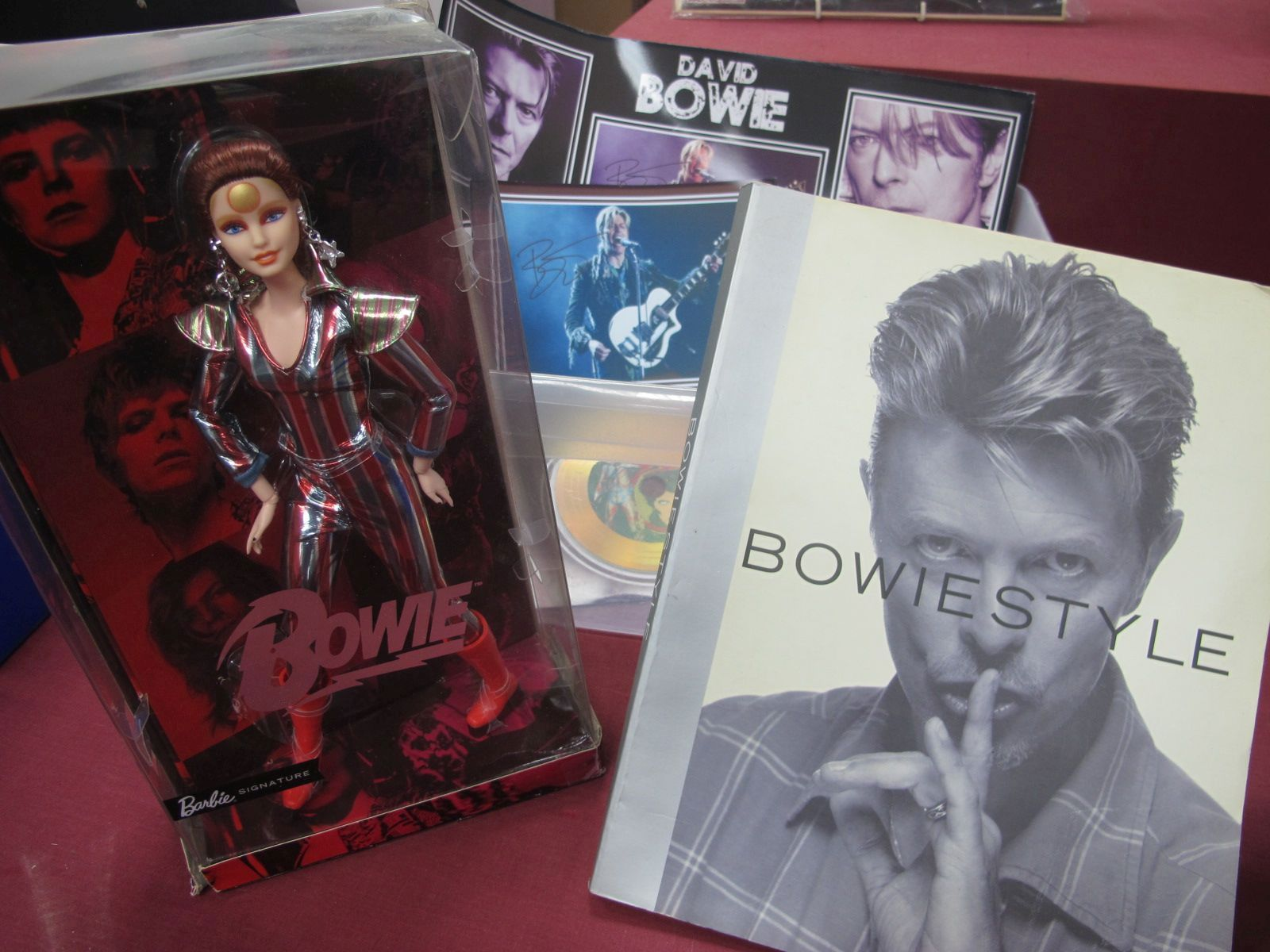 David Bowie Items, Bowie Barbie Doll, copyright 2019, The Book Bowie Style and two Bowie montages.