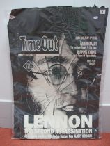 John Lennon Time Out Magazine Advertising Card, measuring 700mm x 500mm.