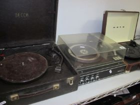 Three Record Players, a vintage Decca Player, serial number 6703, a Philips Player, model number