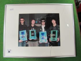 Oasis Signed (Unverified) Framed and Mounted Photograph, measuring 240mm x 190mm.