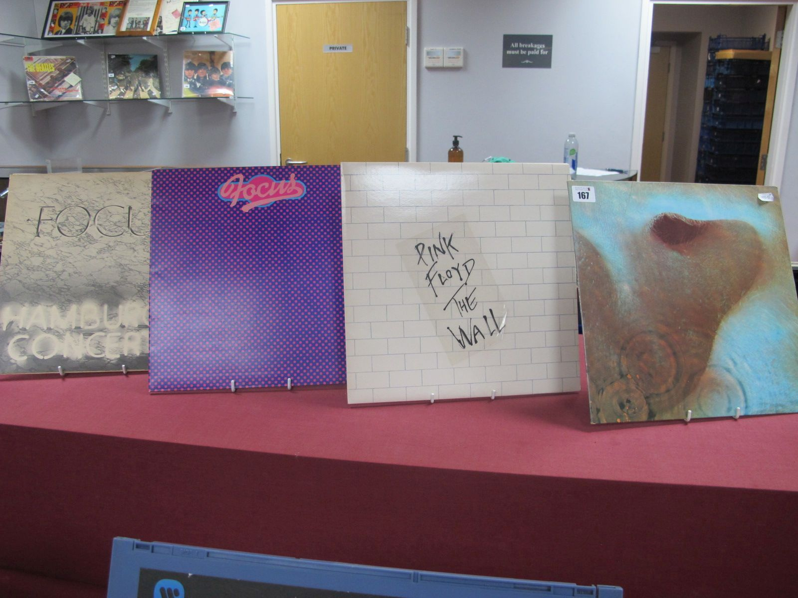 Pink Floyd and Focus LP's, four in this box to include Pink Floyd - Meddle, textured gatefold