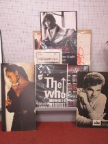 Jody Watley, Sade, Bobby Vee store advertising cards, with Jennifer Lopez and The Who posters.