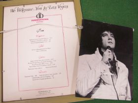 Elvis Presley Souvenir Menus, from Las Vegas International Hotel, one is framed and mounted, the