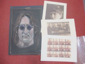 Three Beatles Prints and Original Art, the prints are from photographs taken by Astrid Kirchherr,