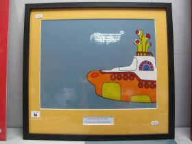 The Beatles - Yellow Submarine Film Cell, framed and mounted, measuring 400mm x 300mm.