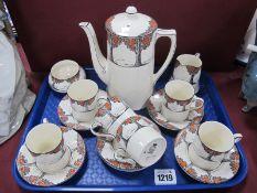 Crown Ducal Orange Tree Coffee Service, of fifteen pieces.