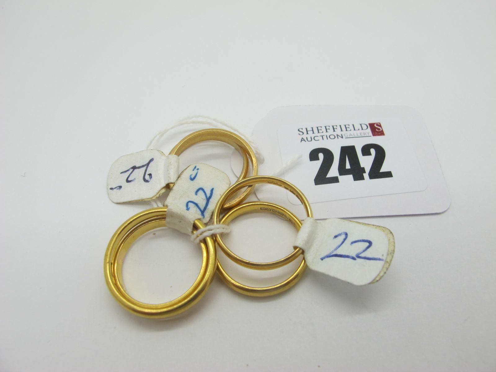Six 22ct Gold Plain Wedding Bands. (6)