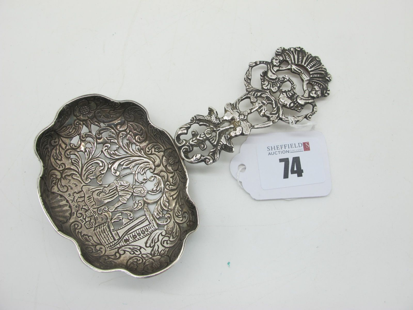 A Continental Hallmarked Silver Spoon, LL, F import hallmark for London 1891, the shaped pierced