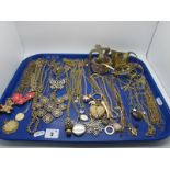 A Selection of Diamanté and Ornate Gilt Coloured Costume Jewellery, including necklaces, bangles,