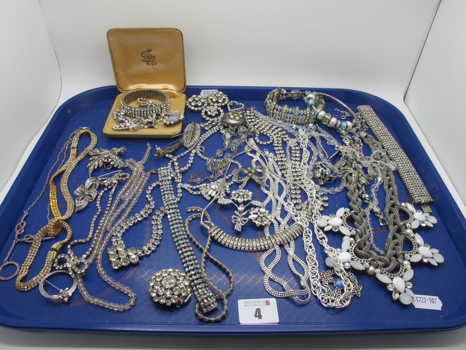Vintage and Later Diamanté Costume Jewellery, including brooches, panel style bracelets, ornate