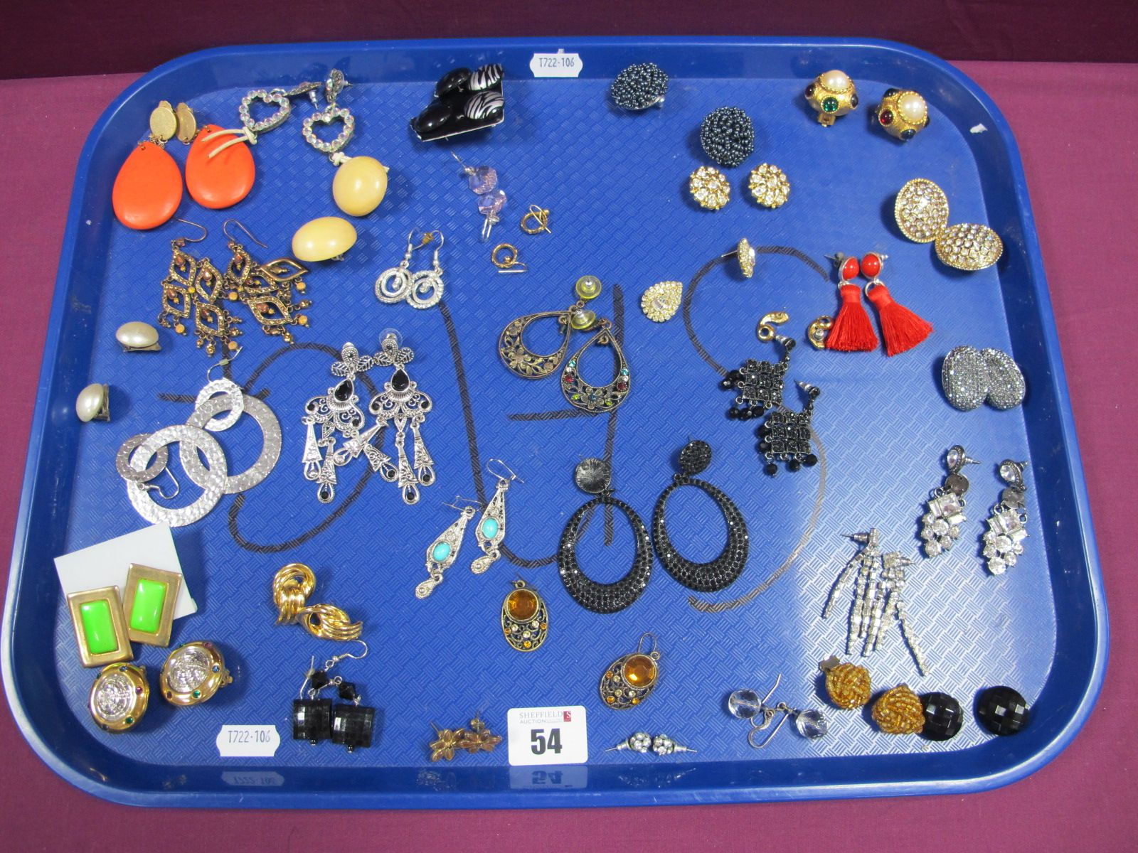 A Selection of Ornate Earrings, including diamanté, knot style, openwork drops, etc :- One Tray