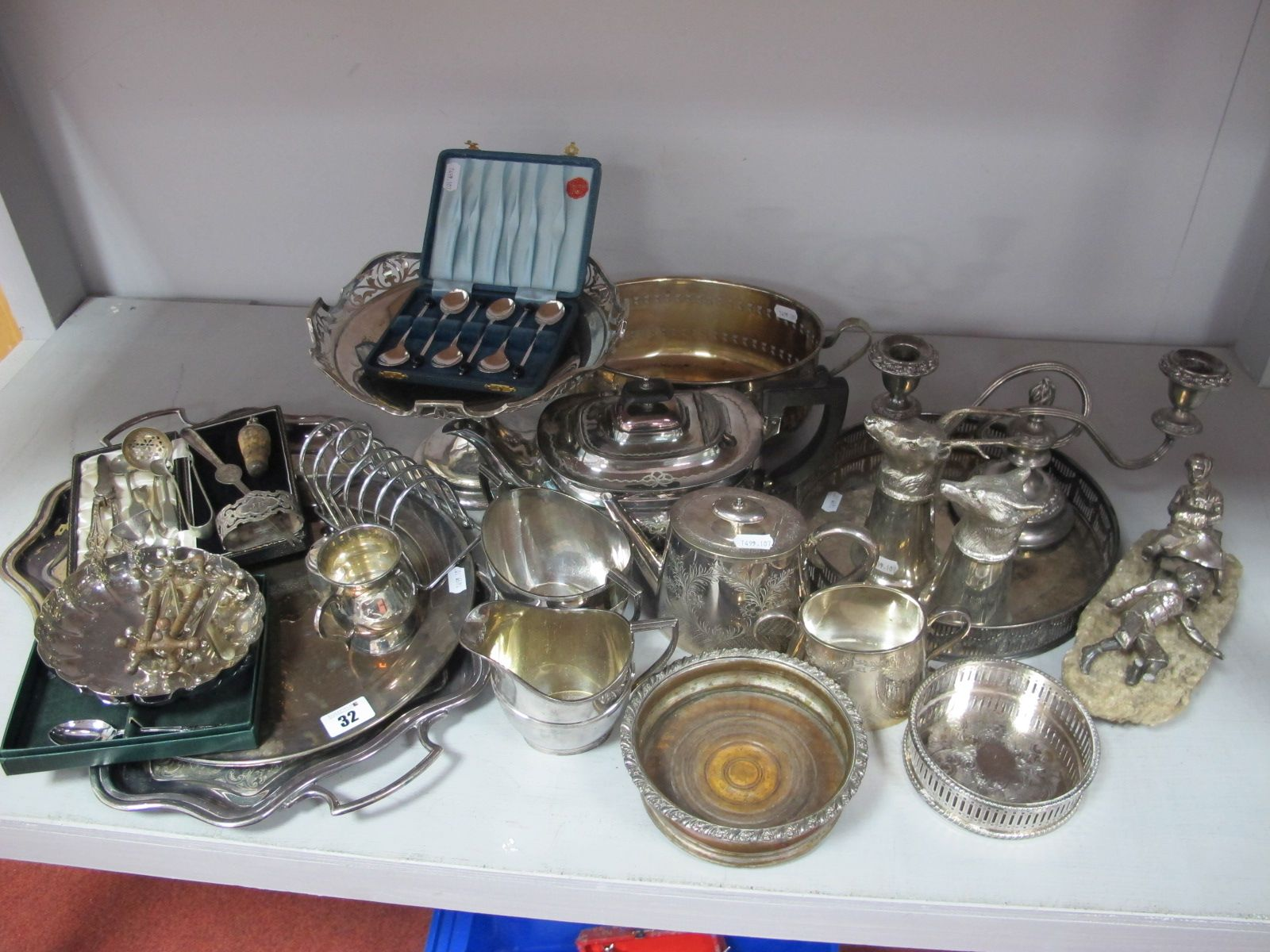Assorted Plated Ware, including Russian style figure group of boy and girl on a sled (damages) on