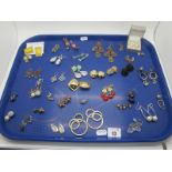 A Variety of Ornate Earrings, including diamanté, floral, drops, imitation pearl, etc :- One Tray